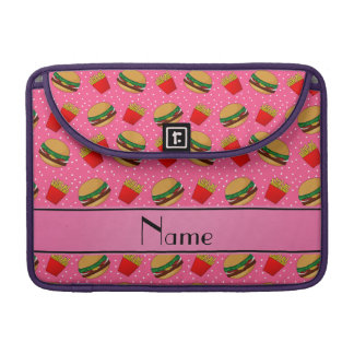 Personalized name pink hamburgers fries dots sleeve for MacBooks