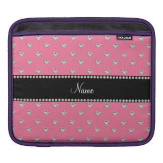 Personalized name pink heart diamonds sleeve for iPads