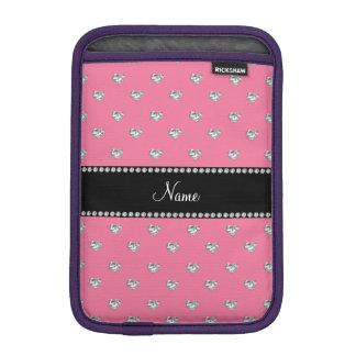 Personalized name pink heart diamonds iPad mini sleeves