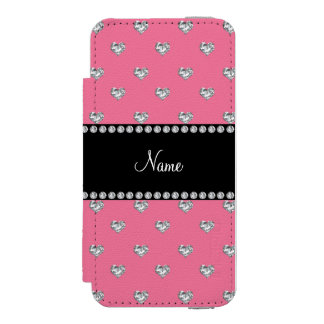 Personalized name pink heart diamonds wallet case for iPhone SE/5/5s