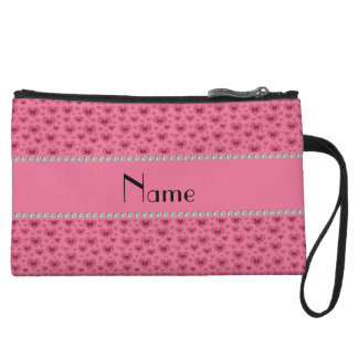 Personalized name pink hearts and butterflies wristlets