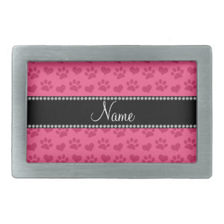 Personalized name pink hearts and paw prints belt buckle