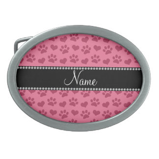 Personalized name pink hearts and paw prints oval belt buckles
