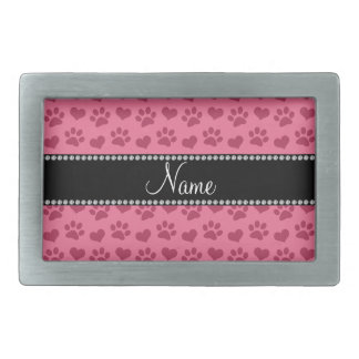 Personalized name pink hearts and paw prints rectangular belt buckle