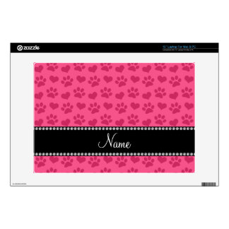 Personalized name pink hearts and paw prints decals for laptops