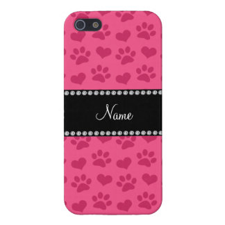 Personalized name pink hearts and paw prints iPhone 5 cover