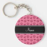 Personalized name pink hearts and paw prints key chain