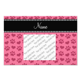 Personalized name pink hearts and paw prints photo