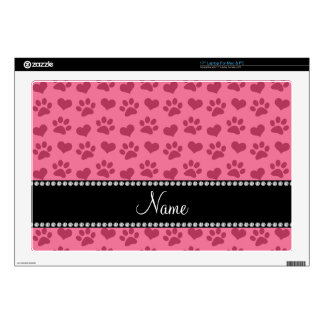 Personalized name pink hearts and paw prints laptop skin