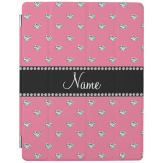 Personalized name pink hearts black stripe iPad cover