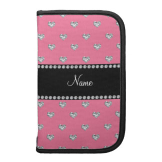 Personalized name pink hearts black stripe organizers
