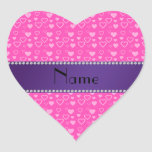 Personalized name pink hearts heart sticker
