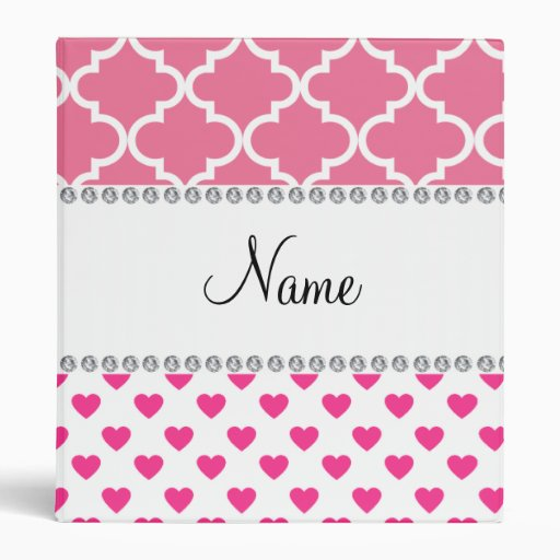 Personalized name pink hearts pink moroccan binder