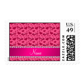 Personalized name pink hearts shoes bows postage