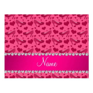 Personalized name pink hearts shoes bows postcard
