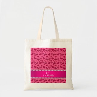 Personalized name pink hearts shoes bows tote bag