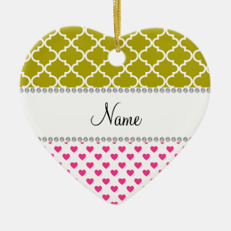 Personalized name pink hearts yellow moroccan Double-Sided heart ceramic christmas ornament