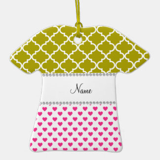 Personalized name pink hearts yellow moroccan Double-Sided T-Shirt ceramic christmas ornament