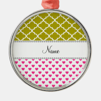 Personalized name pink hearts yellow moroccan round metal christmas ornament