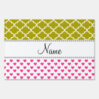 Personalized name pink hearts yellow moroccan lawn sign