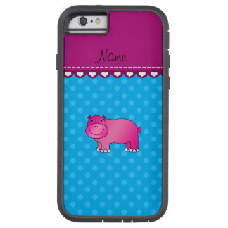 Personalized name pink hippo blue polka dots tough xtreme iPhone 6 case