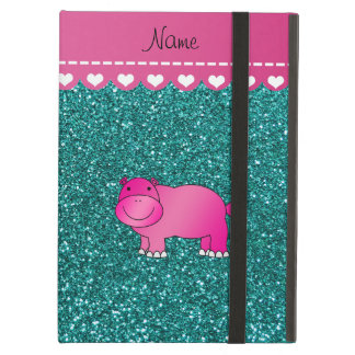 Personalized name pink hippo turquoise glitter iPad air cases