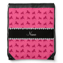 Personalized name pink horse pattern drawstring backpack
