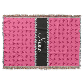 Personalized name pink horse pattern throw blanket