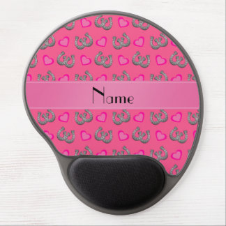 Personalized name pink horseshoes hearts gel mouse pads