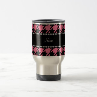 Personalized name pink houndstooth pattern travel mug