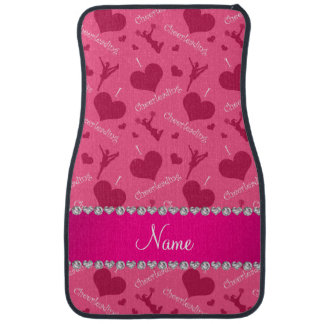 Personalized name pink i love cheerleading hearts car floor mat