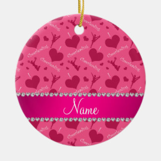 Personalized name pink i love cheerleading hearts ceramic ornament