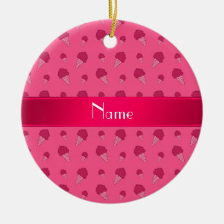 Personalized name pink ice cream pattern ornament
