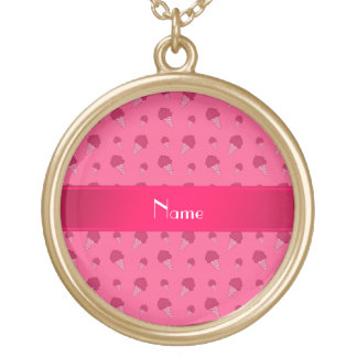 Personalized name pink ice cream pattern pendant
