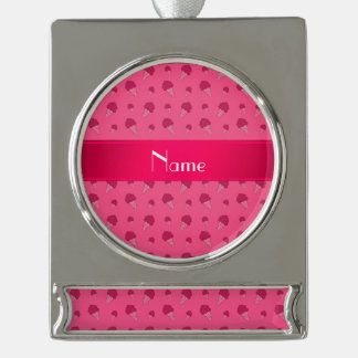 Personalized name pink ice cream pattern silver plated banner ornament