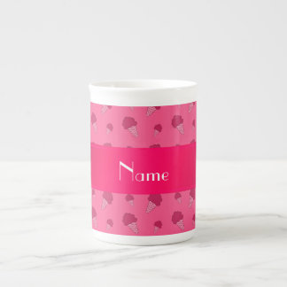 Personalized name pink ice cream pattern tea cup