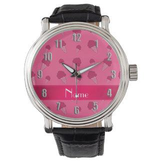 Personalized name pink ice cream pattern wristwatch