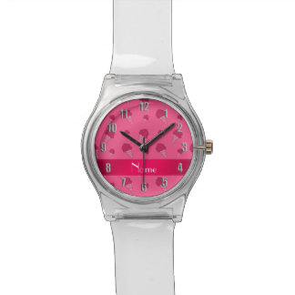 Personalized name pink ice cream pattern watch