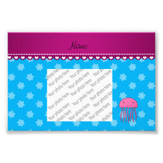 Personalized name pink jellyfish blue flowers photo print