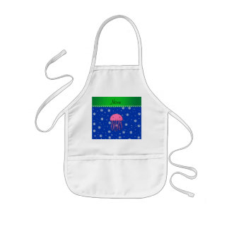 Personalized name pink jellyfish blue snowflakes aprons