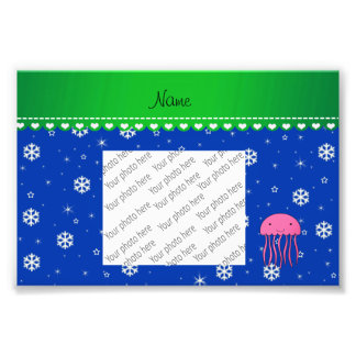 Personalized name pink jellyfish blue snowflakes photo print
