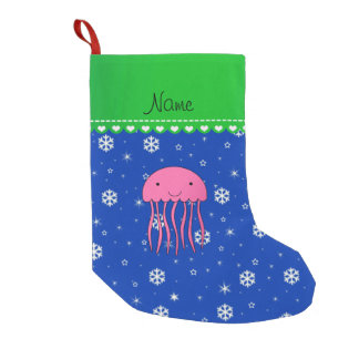 Personalized name pink jellyfish blue snowflakes small christmas stocking