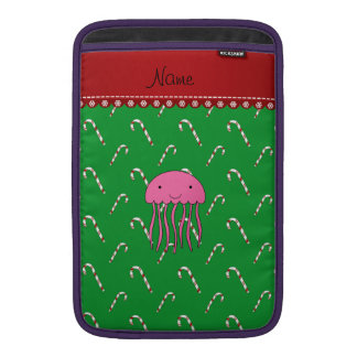 Personalized name pink jellyfish green candy canes MacBook air sleeves