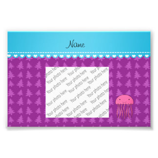 Personalized name pink jellyfish purple trees photo print