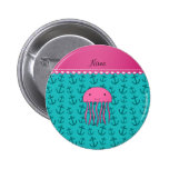 Personalized name pink jellyfish turquoise anchors pin