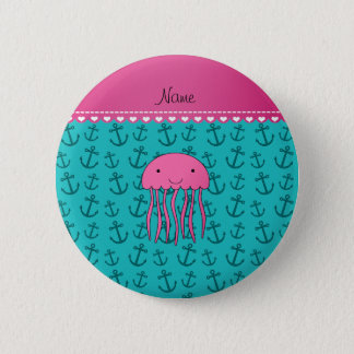 Personalized name pink jellyfish turquoise anchors button