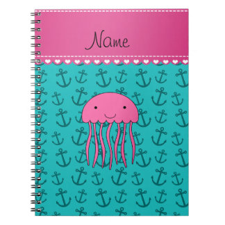 Personalized name pink jellyfish turquoise anchors notebook