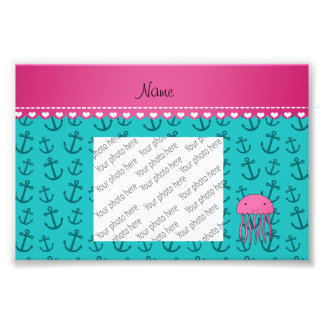 Personalized name pink jellyfish turquoise anchors photo print