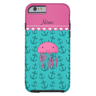 Personalized name pink jellyfish turquoise anchors tough iPhone 6 case