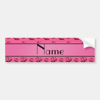 Personalized name pink justice scales car bumper sticker